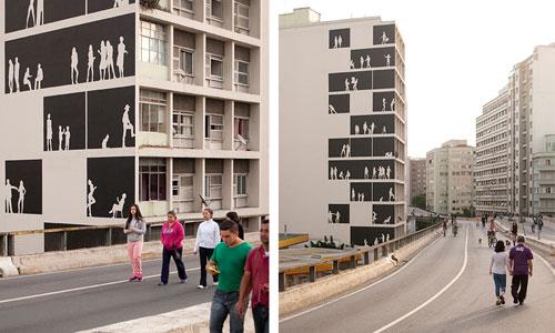 个性建筑:10层大楼的剪影涂鸦墙